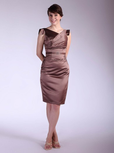 V-neck Sheath/Column Knee-length Satin Sashes/Ribbons Bridesmaid Dresses #DOB02042143