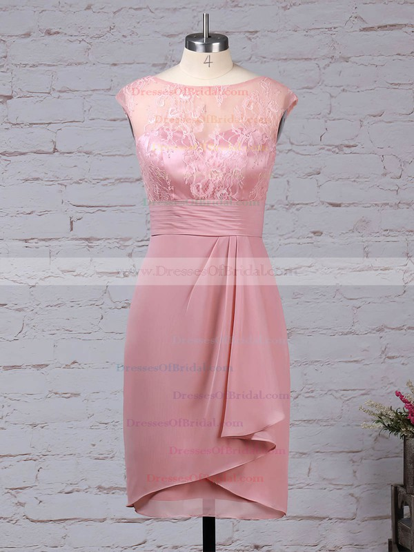 Lace Chiffon Sheath/Column Scoop Neck Knee-length Ruffles Mother of the Bride Dresses #DOB01021688