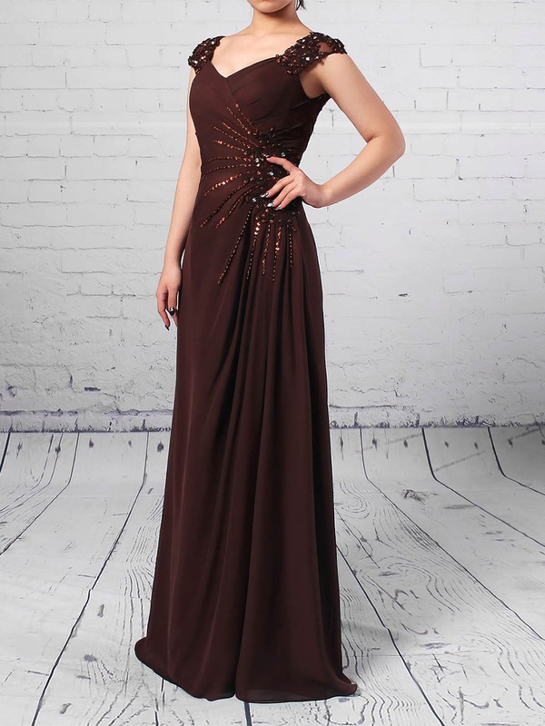 Chiffon Tulle A-line V-neck Floor-length Beading Mother of the Bride Dresses #DOB01021713