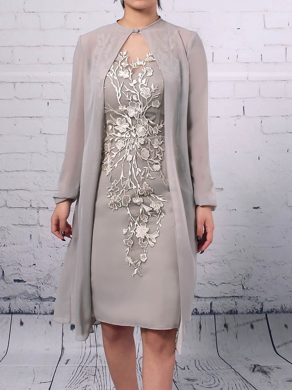 Chiffon Tulle Sheath/Column Scoop Neck Knee-length Appliques Lace Mother of the Bride Dresses #DOB01021680
