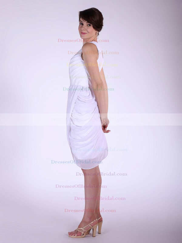 One Shoulder A-line Knee-length Chiffon Pleats Bridesmaid Dresses #DOB02042144