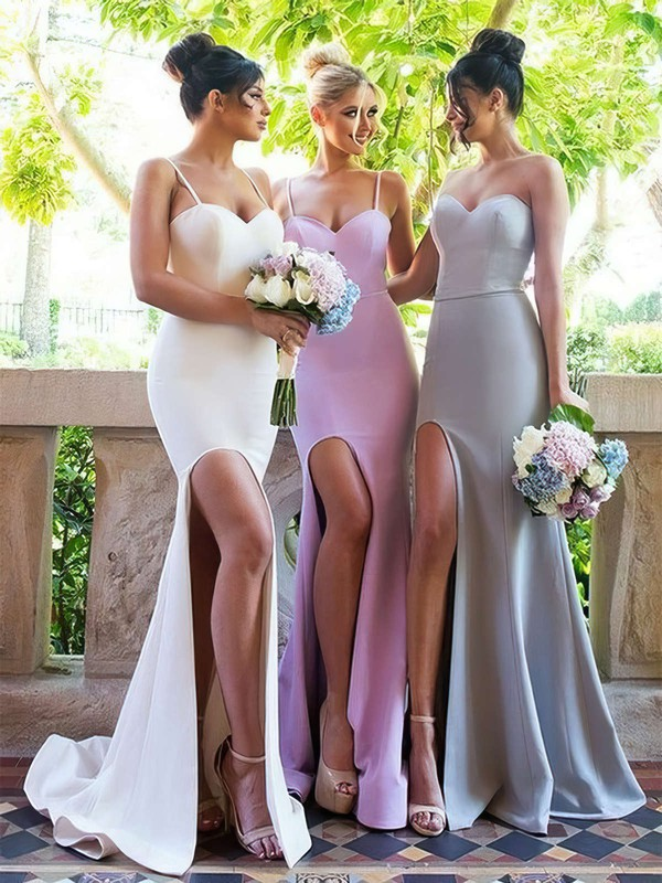 Silk-like Satin Trumpet/Mermaid Sweetheart Sweep Train Split Front Bridesmaid Dresses #DOB01013667