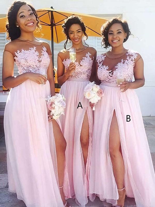 Chiffon Tulle A-line Scoop Neck Floor-length Appliques Lace Bridesmaid Dresses #DOB01013668