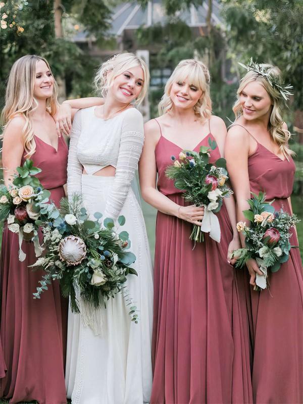 Chiffon A-line V-neck Floor-length Bridesmaid Dresses #DOB01013669