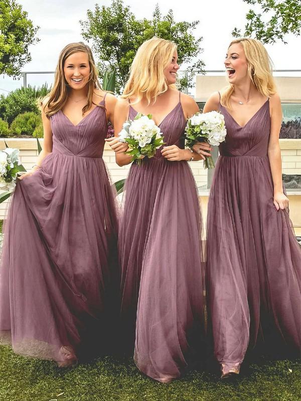Tulle A-line V-neck Floor-length Ruffles Bridesmaid Dresses #DOB01013670
