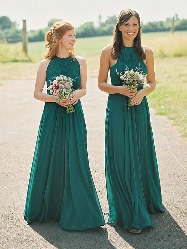 Chiffon A-line Scoop Neck Floor-length Bridesmaid Dresses #DOB01013671