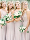 Chiffon A-line V-neck Floor-length Bridesmaid Dresses #DOB01013673