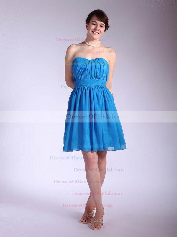Sweetheart A-line Short/Mini Chiffon Pleats Bridesmaid Dresses #DOB02042145