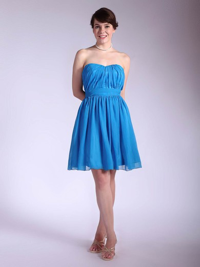 Sweetheart A-line Short/Mini Chiffon Pleats Bridesmaid Dresses #DOB02042145