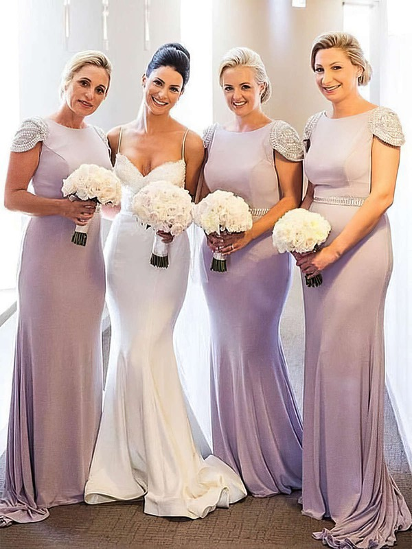 Jersey Trumpet/Mermaid Scoop Neck Sweep Train Beading Bridesmaid Dresses #DOB01013675