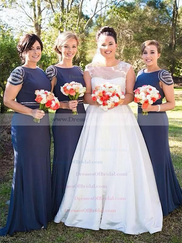 Jersey Trumpet/Mermaid Scoop Neck Sweep Train Beading Bridesmaid Dresses #DOB01013675