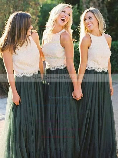 Tulle A-line Scoop Neck Floor-length Lace Bridesmaid Dresses #DOB01013676