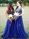 Tulle A-line Scoop Neck Sweep Train Lace Bridesmaid Dresses #DOB01013680