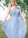 Tulle A-line One Shoulder Floor-length Ruffles Bridesmaid Dresses #DOB01013681