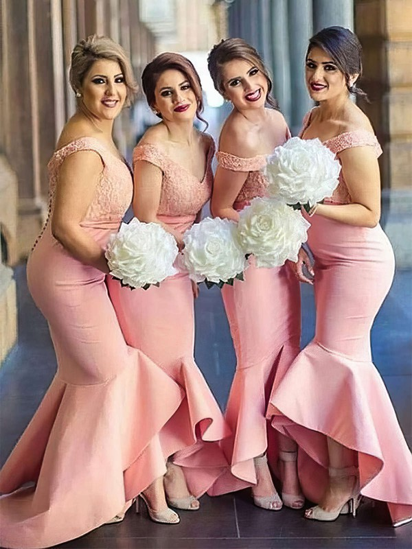 Silk-like Satin Trumpet/Mermaid Off-the-shoulder Asymmetrical Lace Bridesmaid Dresses #DOB01013683