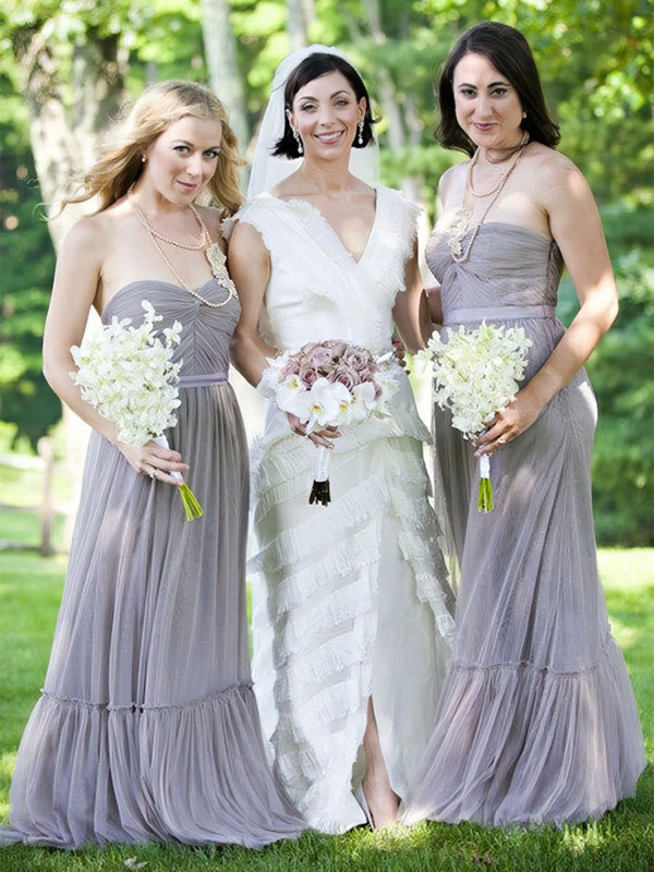 Tulle A-line Sweetheart Floor-length Sashes / Ribbons Bridesmaid Dresses #DOB01013685