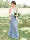 Tulle A-line Scoop Neck Floor-length Bridesmaid Dresses #DOB01013687