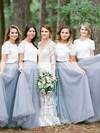 Tulle A-line Scoop Neck Floor-length Lace Bridesmaid Dresses #DOB01013688