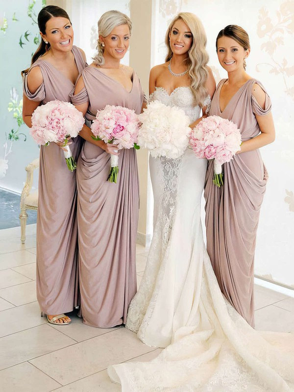 Silk-like Satin Sheath/Column V-neck Floor-length Pick-Ups Bridesmaid Dresses #DOB01013690