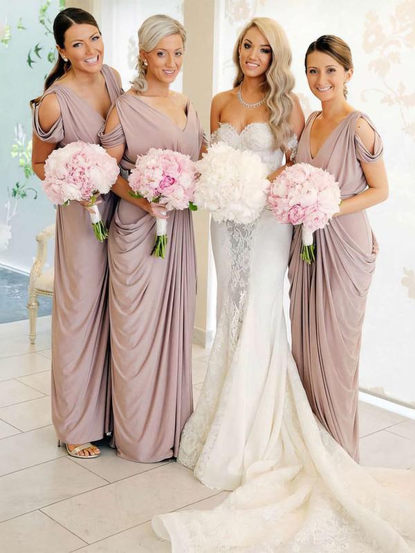 Silk-like Satin Sheath/Column V-neck Floor-length Pick-Ups Bridesmaid Dresses #DOB01013690