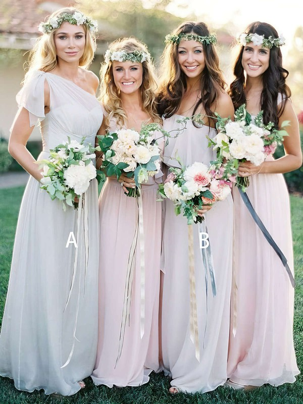 Chiffon A-line One Shoulder Floor-length Ruffles Bridesmaid Dresses #DOB01013691