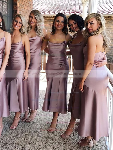 Silk-like Satin Sheath/Column Cowl Neck Tea-length Bridesmaid Dresses #DOB01013693