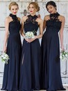 Lace Chiffon A-line High Neck Floor-length Split Front Bridesmaid Dresses #DOB01013694