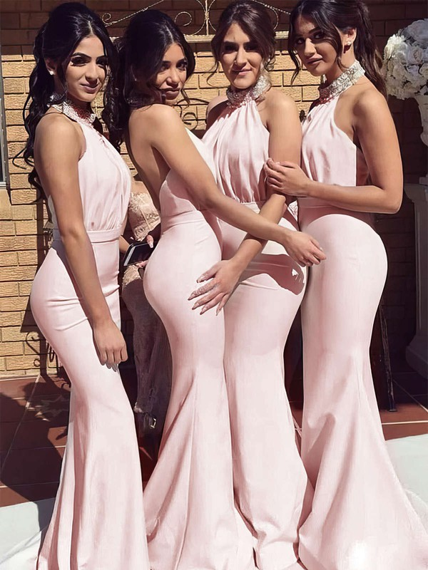 Silk-like Satin Trumpet/Mermaid Halter Sweep Train Beading Bridesmaid Dresses #DOB01013695