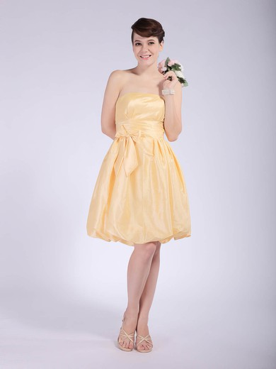 Strapless Empire Knee-length Taffeta Bow Bridesmaid Dresses #DOB02042148