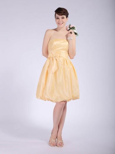 Strapless Empire Knee-length Taffeta Bow Bridesmaid Dresses #DOB02042148