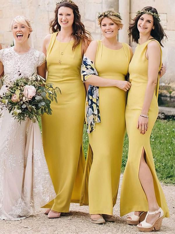 Silk-like Satin Sheath/Column Scoop Neck Ankle-length Split Front Bridesmaid Dresses #DOB01013696