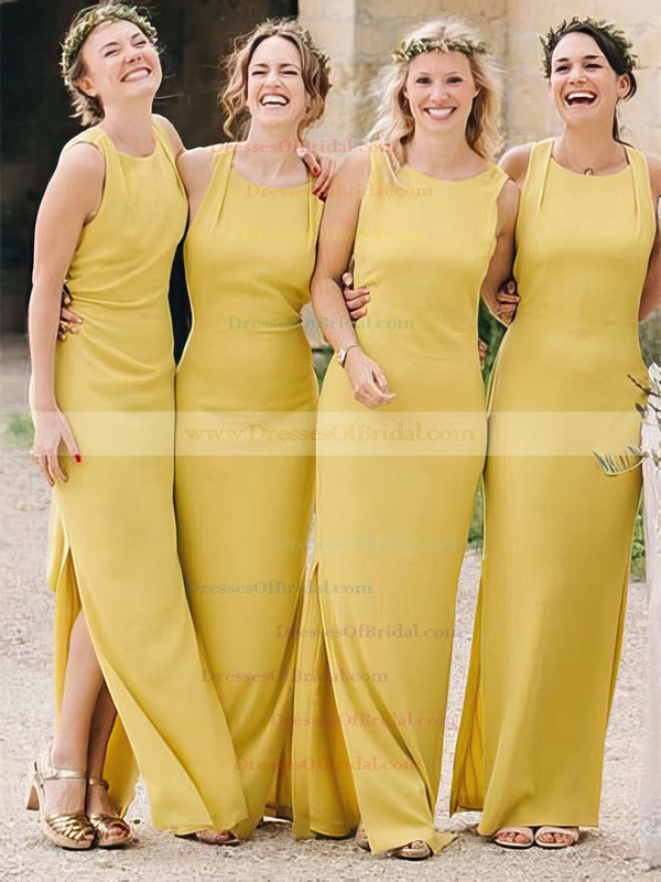 Silk-like Satin Sheath/Column Scoop Neck Ankle-length Split Front Bridesmaid Dresses #DOB01013696
