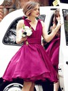Organza Ball Gown V-neck Knee-length Ruffles Bridesmaid Dresses #DOB01013697