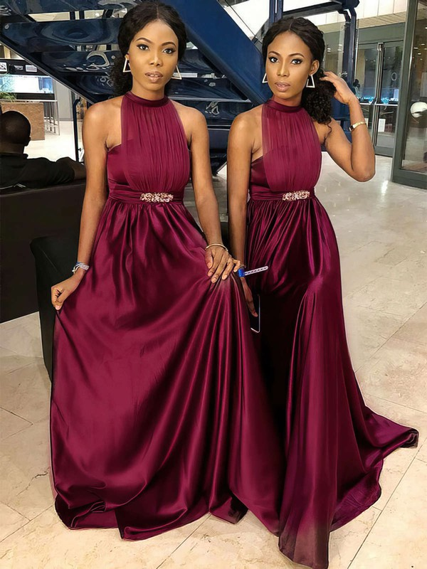 Tulle Silk-like Satin A-line High Neck Sweep Train Sashes / Ribbons Bridesmaid Dresses #DOB01013699