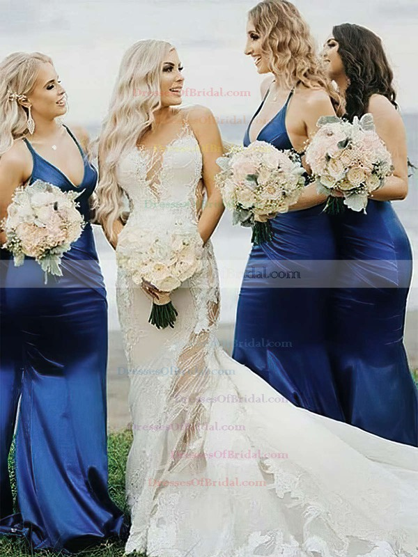 Silk-like Satin Trumpet/Mermaid V-neck Sweep Train Bridesmaid Dresses #DOB01013706