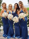 Silk-like Satin Trumpet/Mermaid V-neck Sweep Train Bridesmaid Dresses #DOB01013706