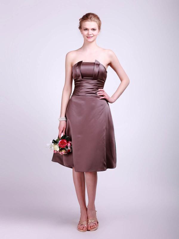 Straps A-line Tea-length Satin Sashes/Ribbons Bridesmaid Dresses #DOB01012013
