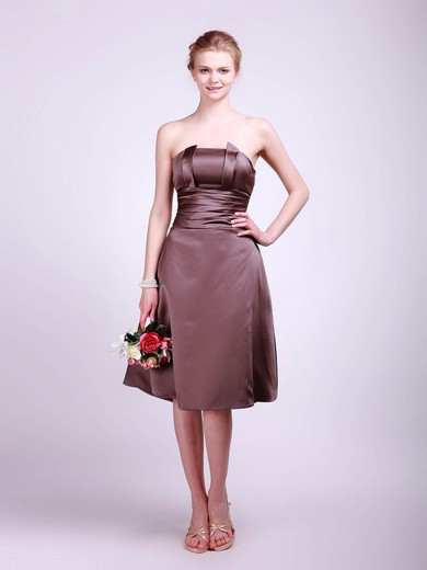 Straps A-line Tea-length Satin Sashes/Ribbons Bridesmaid Dresses #DOB01012013