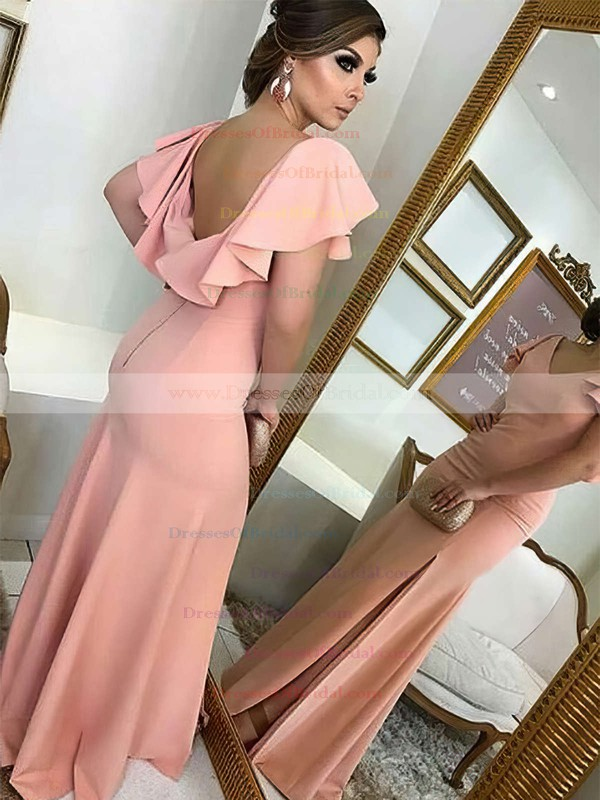 Silk-like Satin Sheath/Column V-neck Sweep Train Split Front Bridesmaid Dresses #DOB01013712