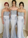 Silk-like Satin Trumpet/Mermaid Sweetheart Sweep Train Beading Bridesmaid Dresses #DOB01013713