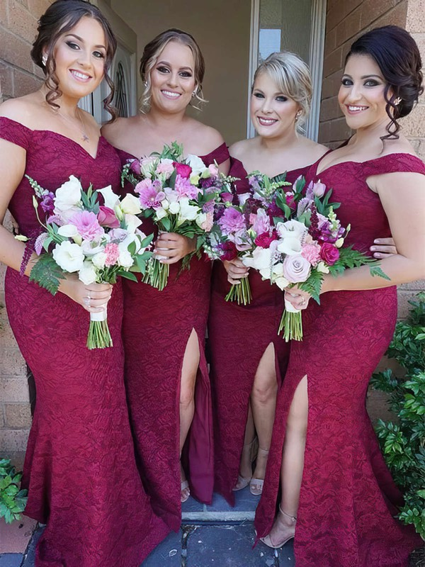 Lace Trumpet/Mermaid Off-the-shoulder Sweep Train Split Front Bridesmaid Dresses #DOB01013715