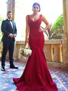 Silk-like Satin Trumpet/Mermaid V-neck Sweep Train Bridesmaid Dresses #DOB01013716