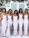 Silk-like Satin Trumpet/Mermaid Cowl Neck Floor-length Bridesmaid Dresses #DOB01013717
