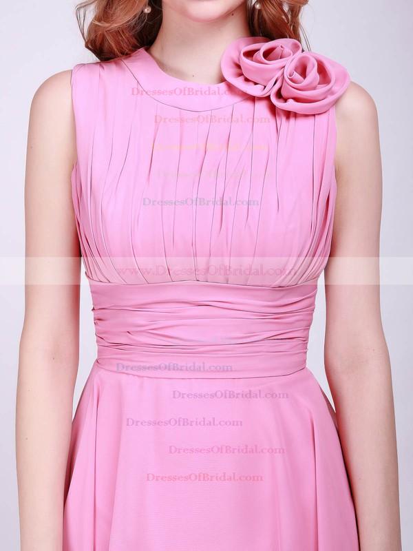High Neck A-line Knee-length Chiffon Flower(s) Bridesmaid Dresses #DOB01012014