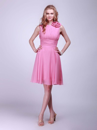 High Neck A-line Knee-length Chiffon Flower(s) Bridesmaid Dresses #DOB01012014