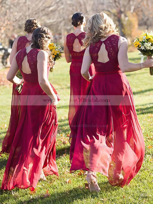 Chiffon A-line V-neck Floor-length Lace Bridesmaid Dresses #DOB01013718