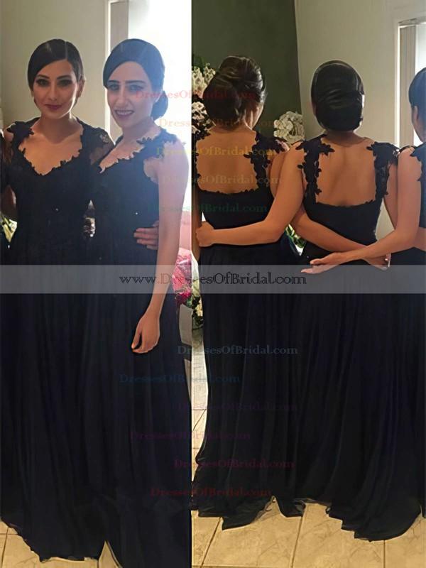 Chiffon A-line V-neck Floor-length Appliques Lace Bridesmaid Dresses #DOB01013719
