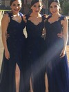 Chiffon A-line V-neck Floor-length Appliques Lace Bridesmaid Dresses #DOB01013719