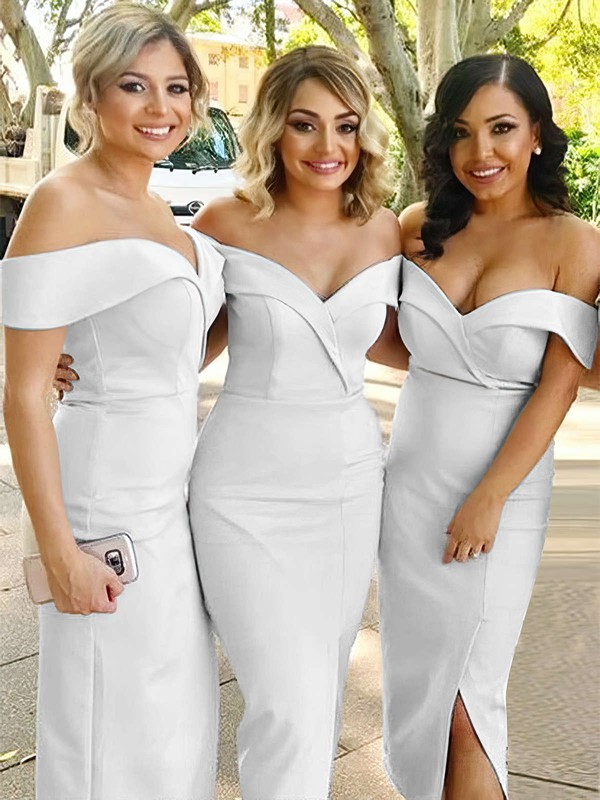 Silk-like Satin Sheath/Column Off-the-shoulder Tea-length Split Front Bridesmaid Dresses #DOB01013720