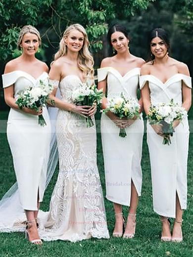Silk-like Satin Sheath/Column Off-the-shoulder Tea-length Split Front Bridesmaid Dresses #DOB01013720